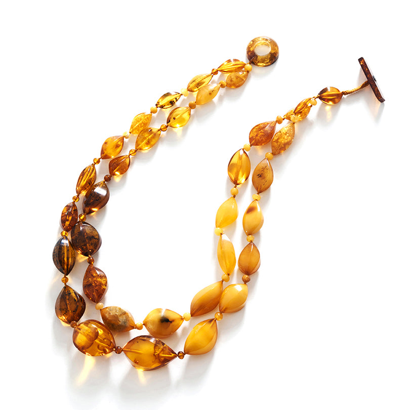Polish Designer Gorgeous Wave-Cut Mixed Colors of Baltic Amber Statement Necklace