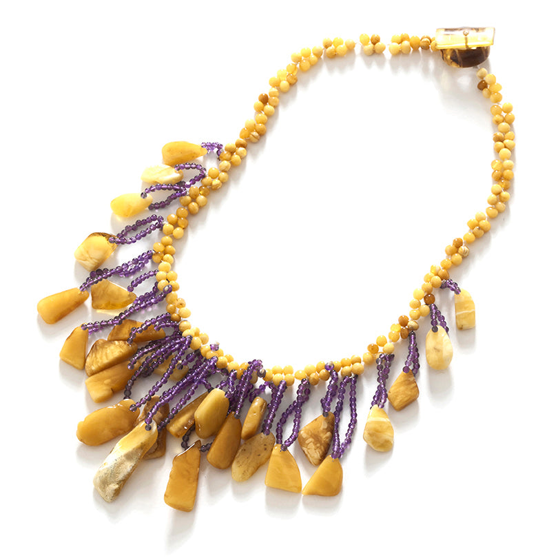 Dance the Night Away! Butterscotch and Amethyst Swing Necklace 19""
