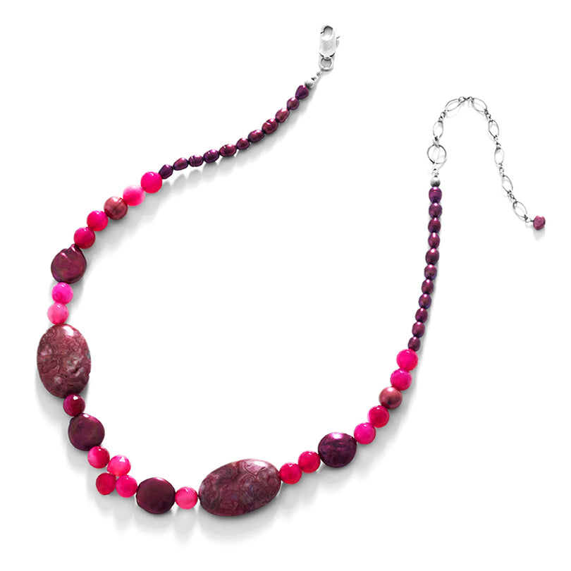 Sassy Red Jasper and Agate Sterling Silver Necklace