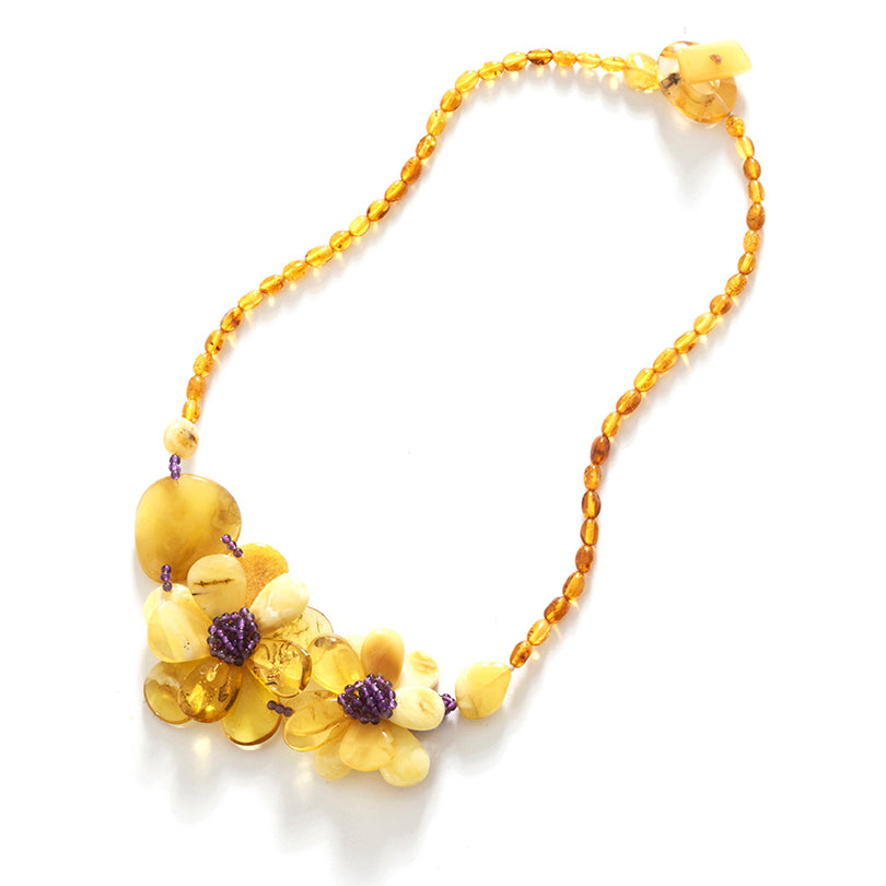 Beautiful Butterscotch Amber and Amethyst Flower Statement Necklace