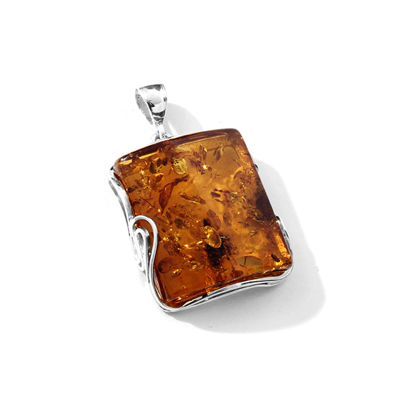 Cognac Baltic Amber Square Sterling Silver pendant