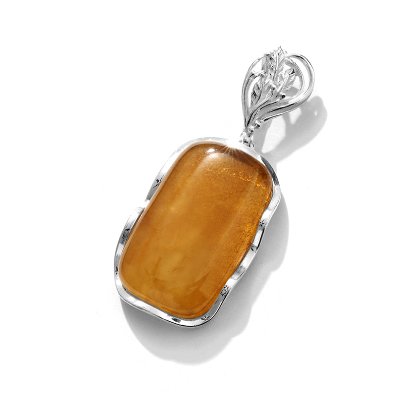 Dynamic Masterpiece Honey Cognac Baltic Amber Sterling Silver Statement Pendant