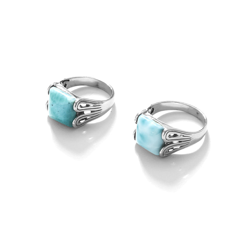 Art Deco Style Larimar Sterling Silver Rings
