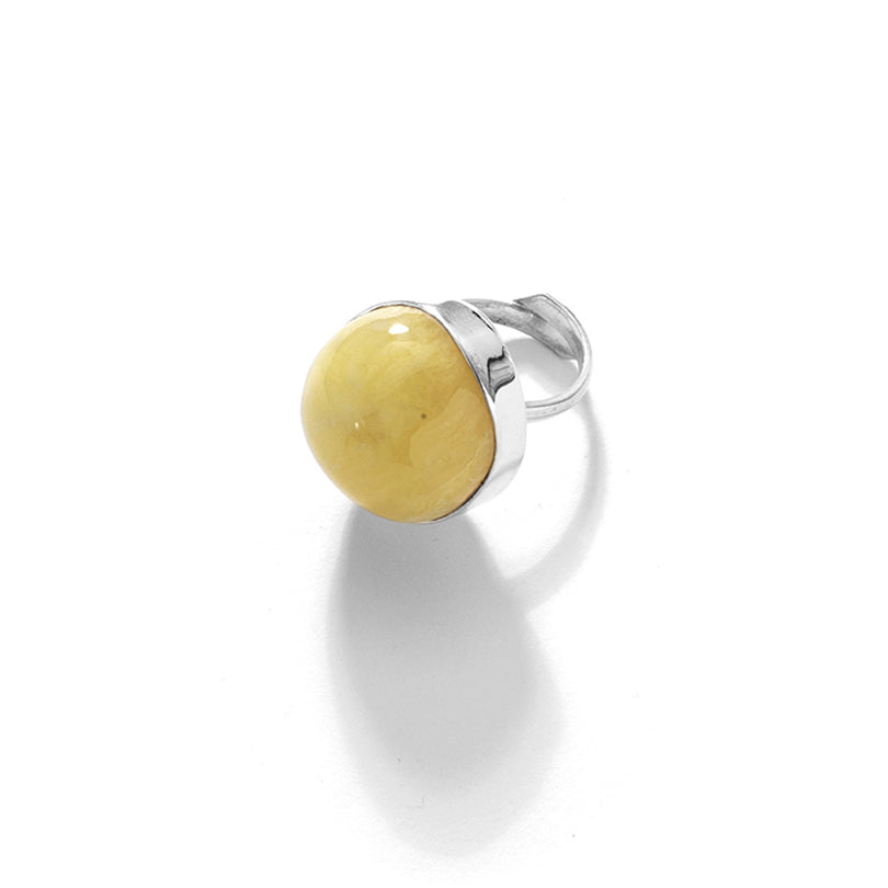 Gorgeous Butterscotch Baltic Amber Sterling Silver Statement Ring