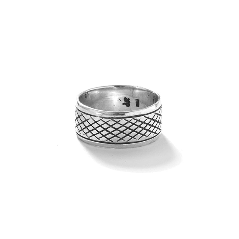 DeGruchy Classic Balinese Sterling Silver Band Statement Ring-large sizes