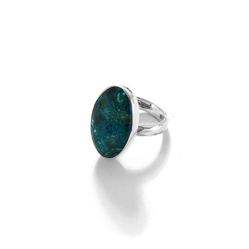 Starborn Arizona  Chrysocolla Sterling Silver Statement Ring