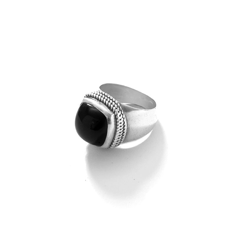 Sleek Black Onyx Sterling Silver Statement Ring-size 10