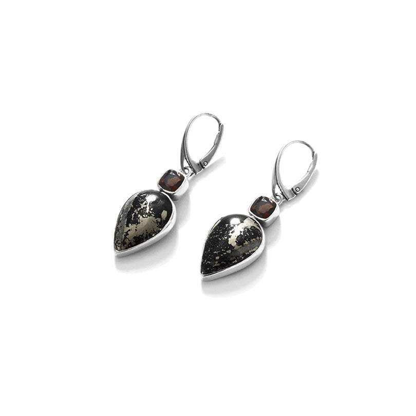 Exotic Schiffer Pyrite Smoky Quartz Sterling Silver Statement Earrings