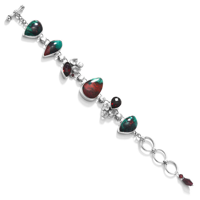 Starborn Amazing Sonora Sunset Cuprite Faceted Garnet Sterling Silver Statement Bracelet