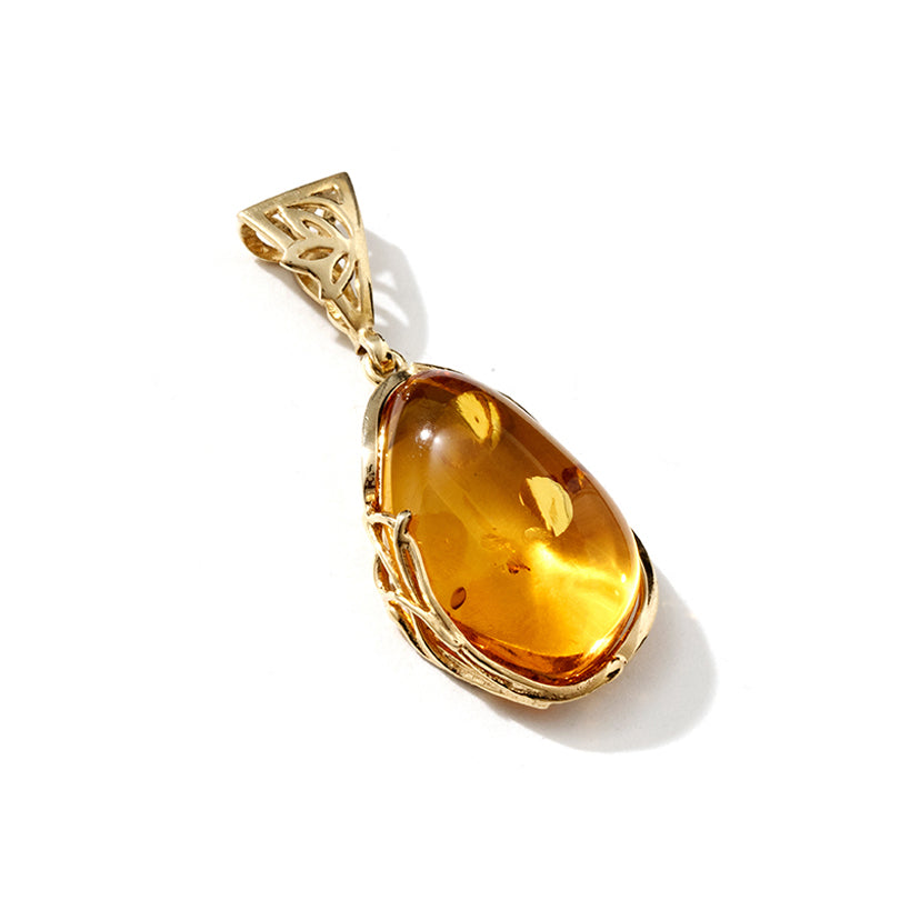 Gorgeous Honey Baltic Amber Gold Plated Statement Pendant