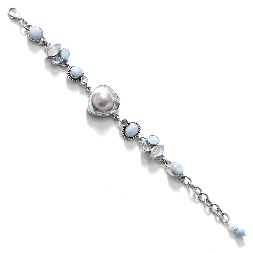 Nature's Best Mabe Pearl Sterling Silver Statement Bracelet