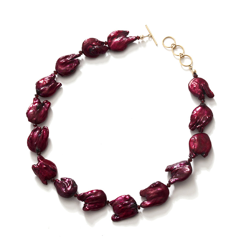 Fabuloue Burgundy Fresh Water Pearl Gold filled Toggle Statement Necklace