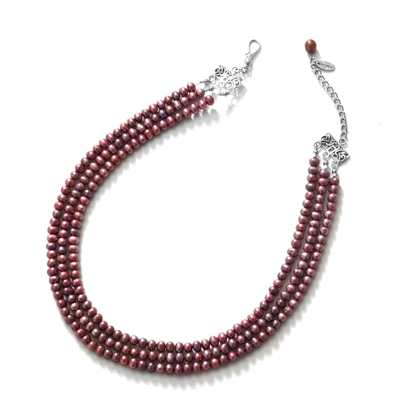 Elegant 3-Row  Plum Pink Fresh Water Perl Sterling Silver Statement Necklace