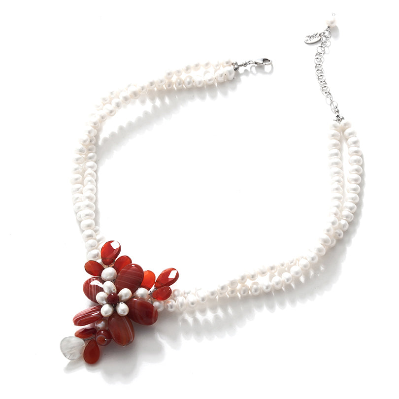 Beautiful Carnelian Flowers on White Pearl Neckline Flower Statement Necklace