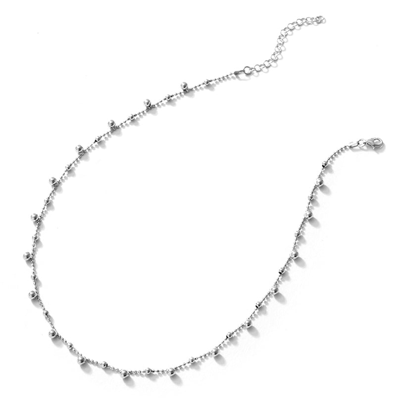 Dainty Floating Silver Balls Italian Rhodium Plated Sterling Silver Necklace
