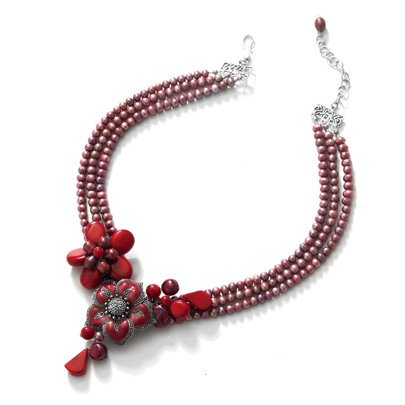 Glorious Burgundy Pearl &  Coral Flower Necklace