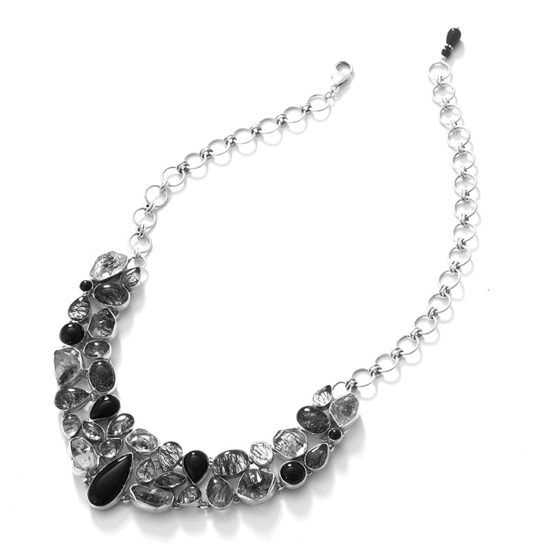 Stunning Black Onyx and Black Rutilated Quartz Sterling Silver Statement Necklace #2
