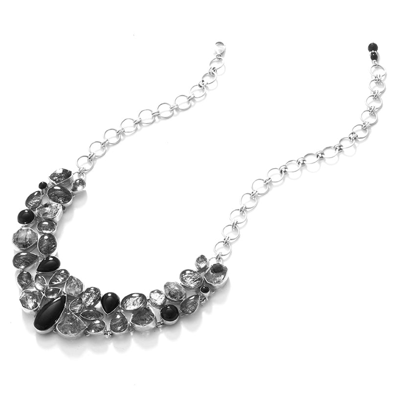Stunning Black Onyx and Black Rutilated Quartz Sterling Silver Statement Necklace