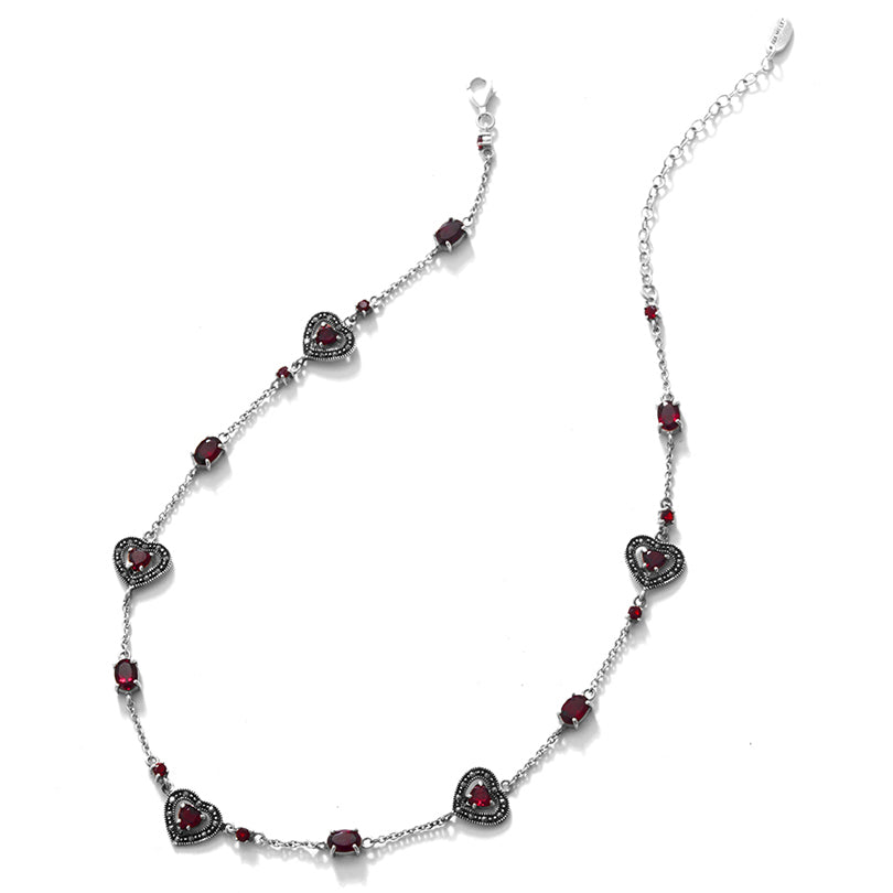 Delicate Floating Garnet Hearts Marcasite Sterling Silver Necklace