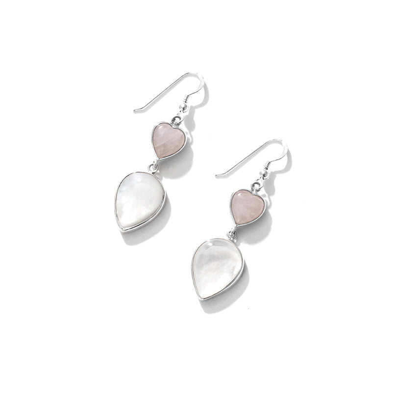 Shimmering Mother of Pearl Heart Sterling Silver Statement Earrings