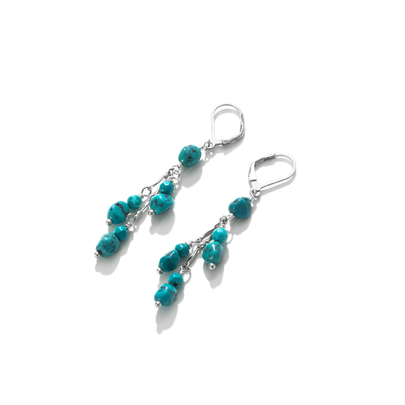 Genuine Turquoise Sterling Silver Dangle Earrings