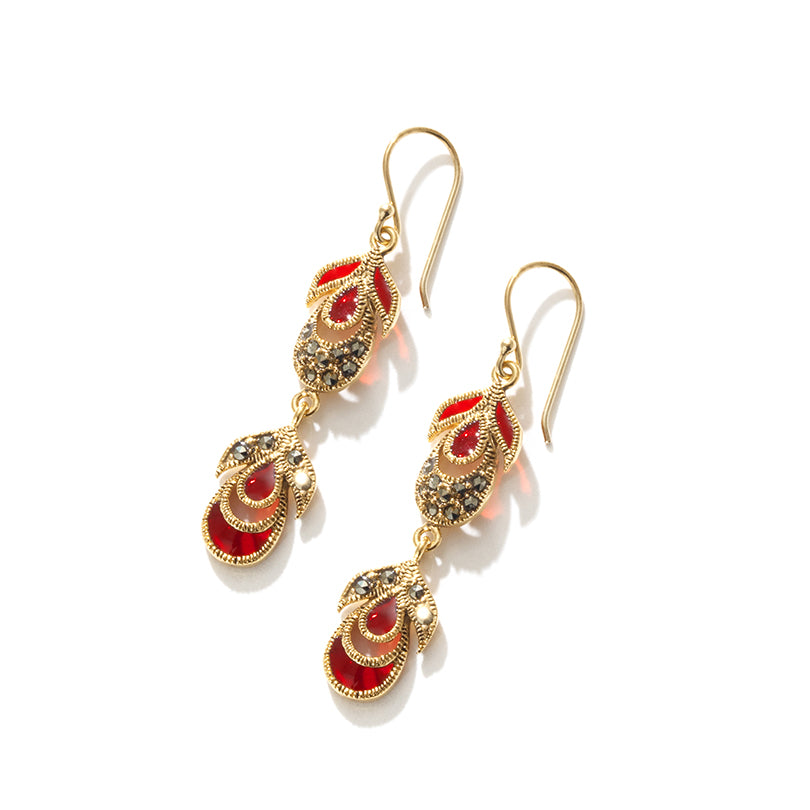 Beautiful Graceful Red Peacock Marcasite14kt Gold Plated Earrings