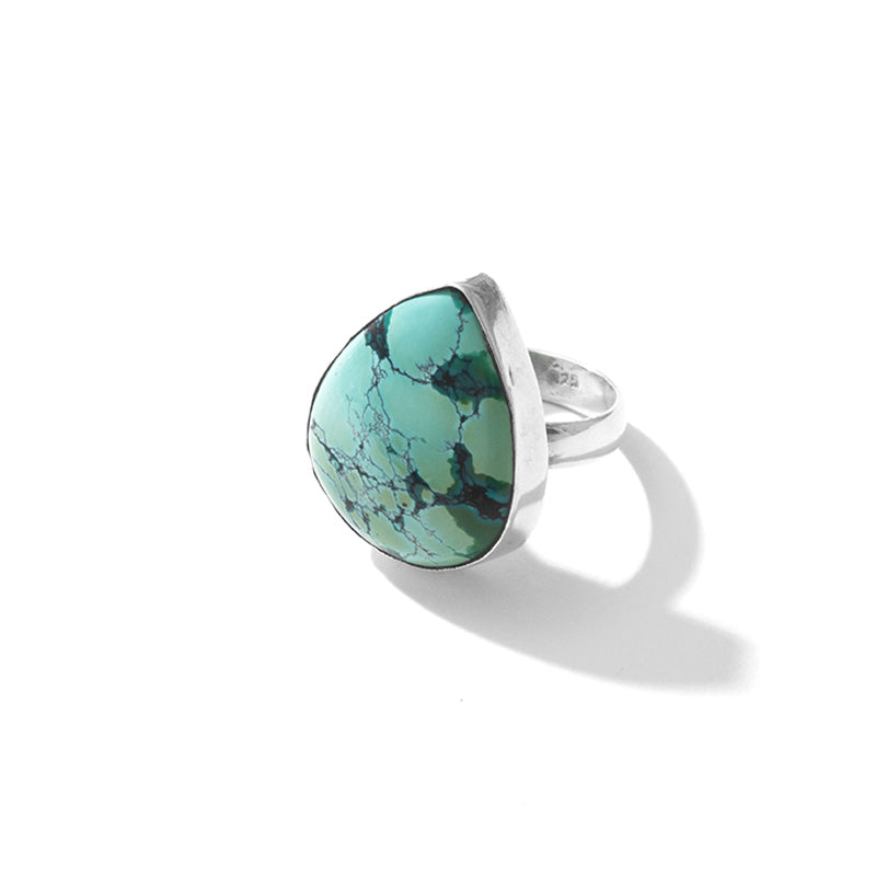 Creamy Blue Natural Blue Turquoise Sterling Silver  Ring
