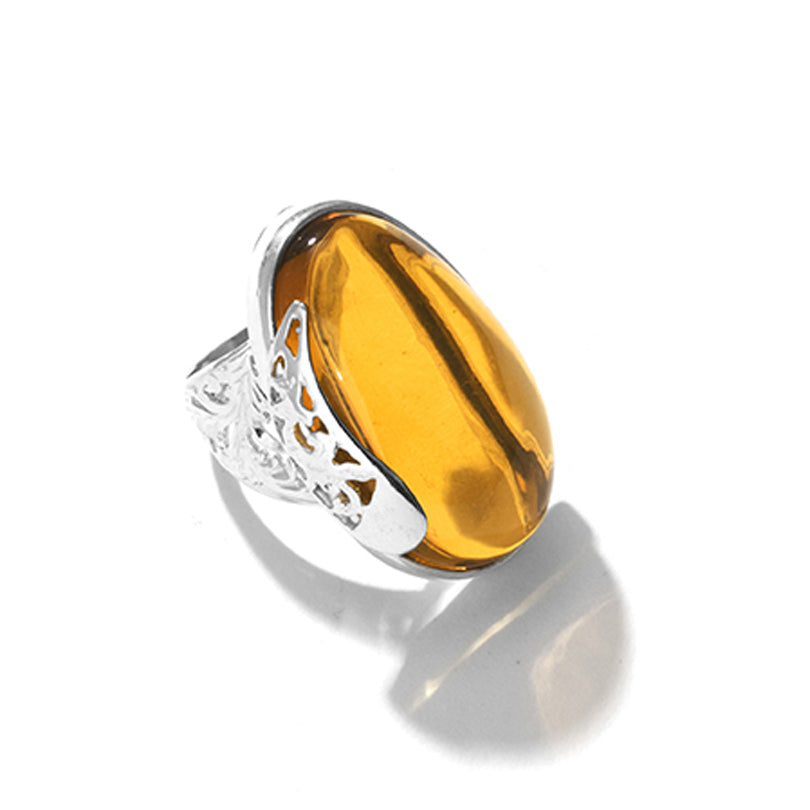 Gorgeous Clear Honey Cognac Baltic Amber Sterling Silver Statement Ring
