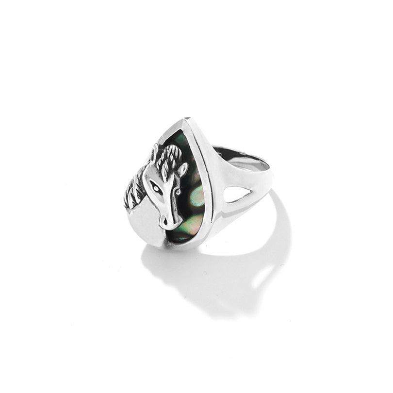 Shiny Silver Horse on Abalone Background Sterling Silver  Ring-size 9