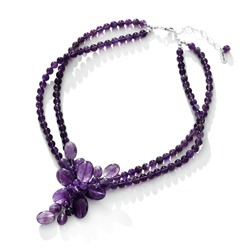 Translucent Amethyst Flower Sterling Silver Statement Necklace