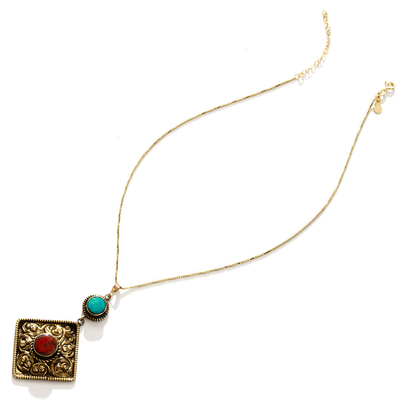 Himalayan Turquoise & Coral Nepal Ceremony Necklace