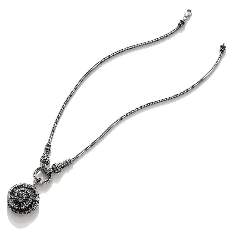 Stunning Marcasite Spiral Sterling Silver Statement Necklace