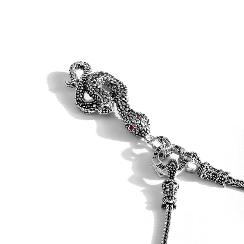Exotic Marcasite Snake Sterling Silver Necklace