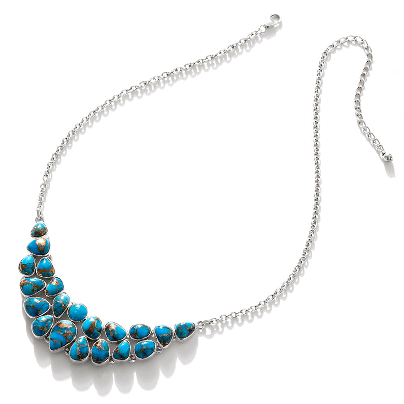 Vibrant Turquoise Cobblestone Sterling Silver Statement Necklace
