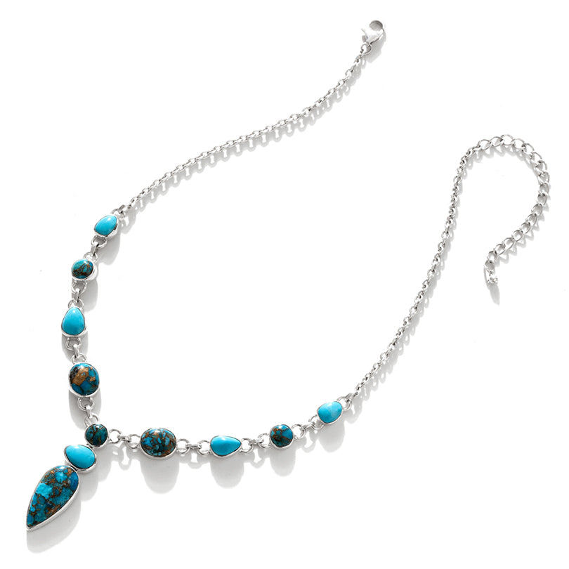 Beautifully Flattering Turquoise Sterling Silver Statement Necklace