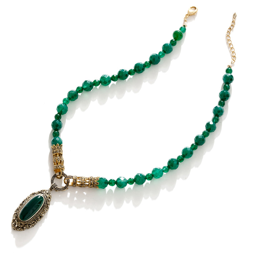 Vintage Inspired Emerald Green Agate Gold Plated Statement Necklace