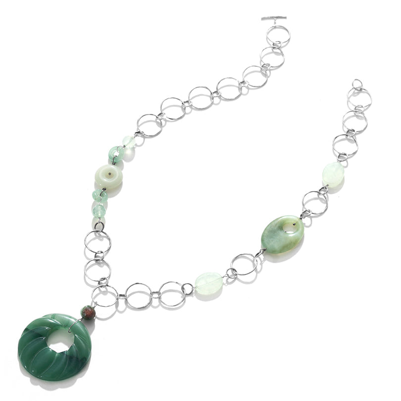 Jazzy Jade Sterling Silver Swing Statement Necklace