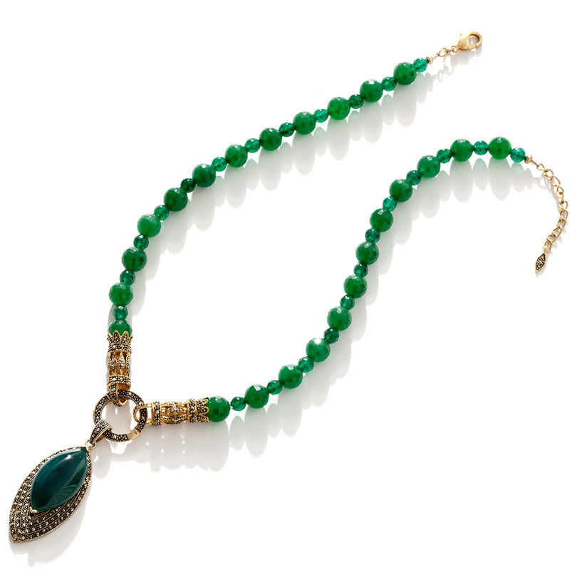 Gorgeous Emerald Green Agate 14kt Gold Plated Statement Necklace