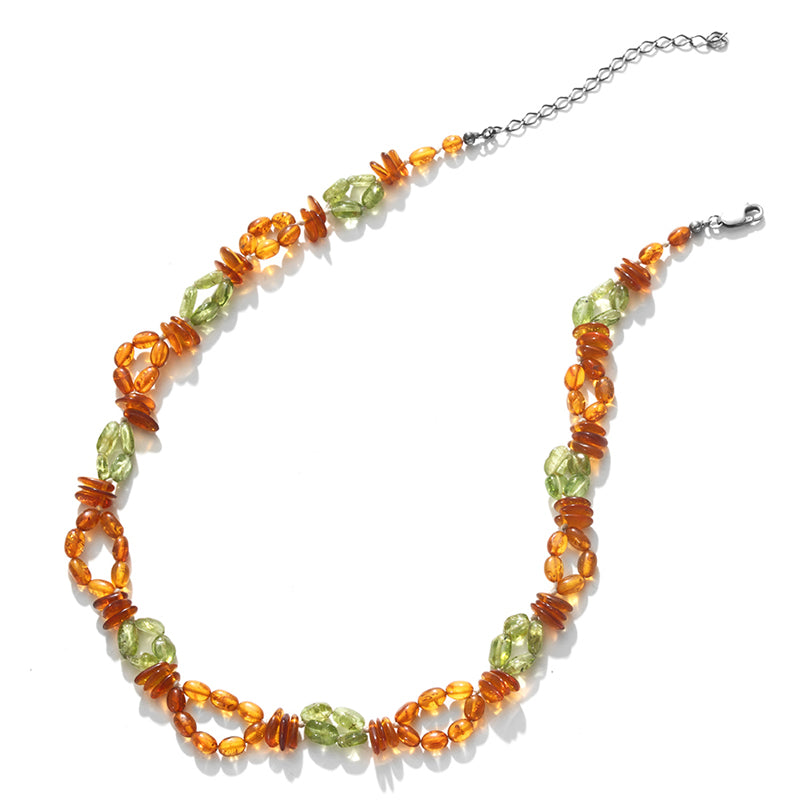 Beautiful Baltic Honey Amber with Peridot Necklace