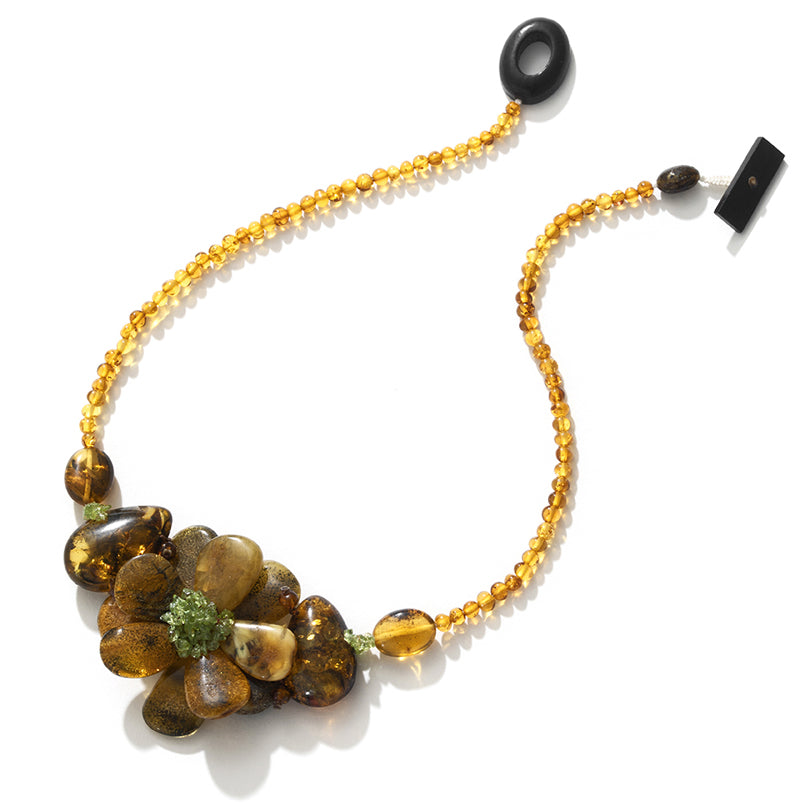 Nature Created  Fashion, Baltic Amber Necklace Flower Statement Necklace