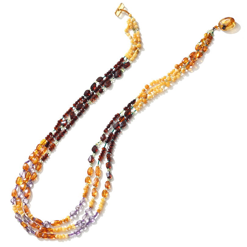 Fabulous Mixed Baltic Amber & Amethyst Long Statement Necklace 32""