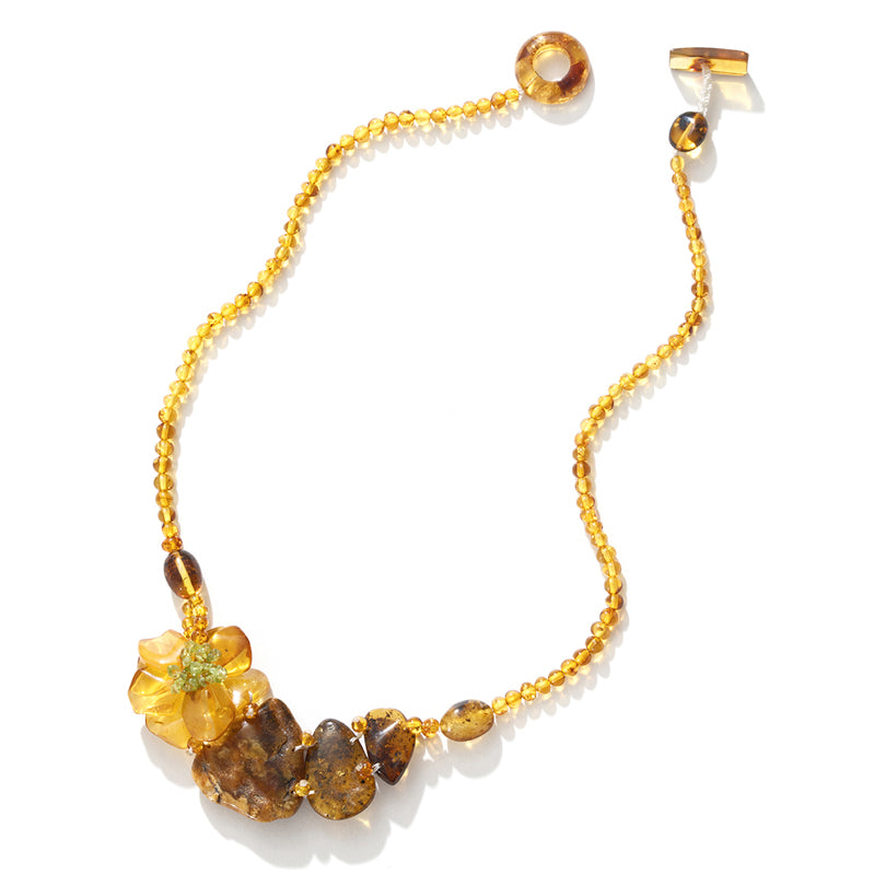 Lovely Petite Amber Flower Necklace