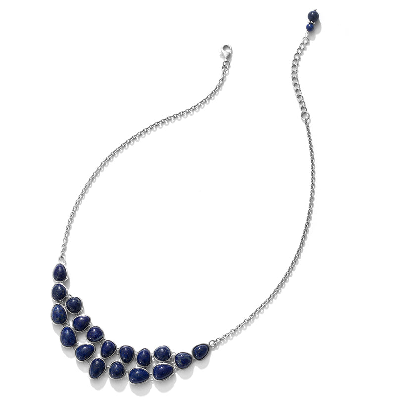 Beautiful Cobblestone Lapis Sterling Silver Petite Statement Necklace