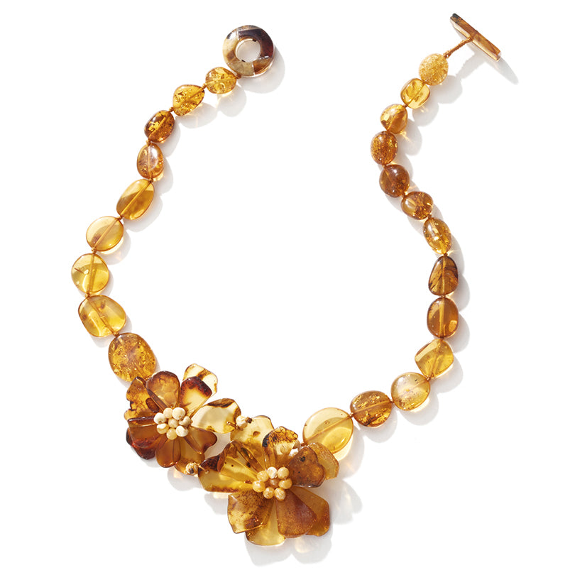 Golden Sparkling Baltic Amber Flower Necklace