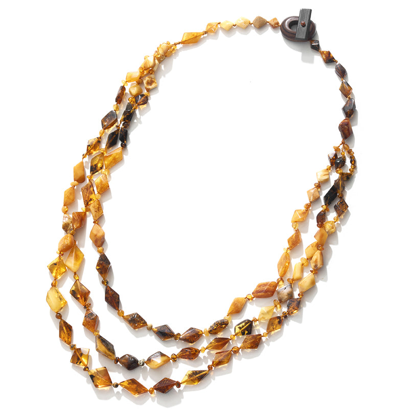 Gorgeous Earthy Colors of Baltic Amber 3-Strand Statement Necklace