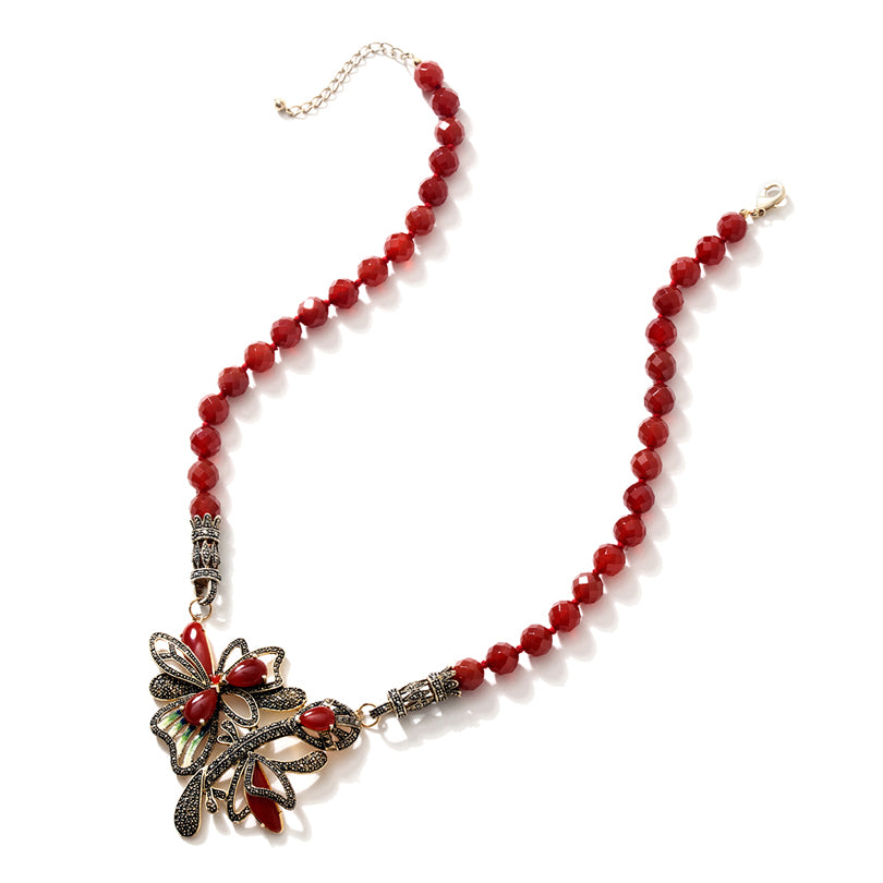 Warm Red Carnelian with Sparkling Marcasite Gold Plated Statement Flower Necklace