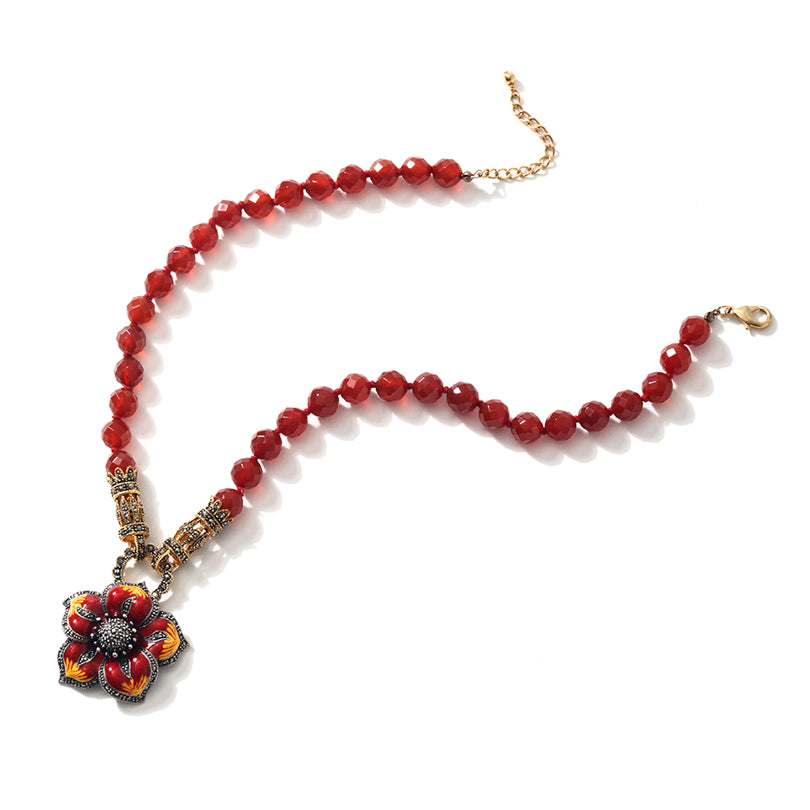 "Sunshine Carnelian and Gold Plated Marcasite Silver Flower Necklace 18"" - 20"""