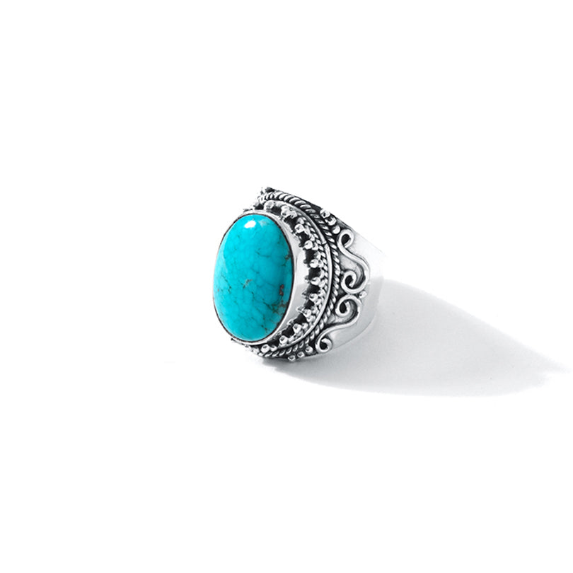 Magnificent Arizona Blue Turquoise Sterling Silver Statement Ring