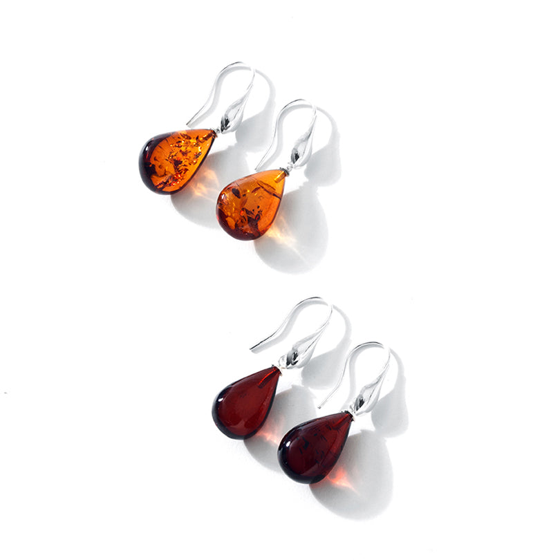 Designer Cognac Baltic Amber Sterling Silver Bozena Statement Earrings