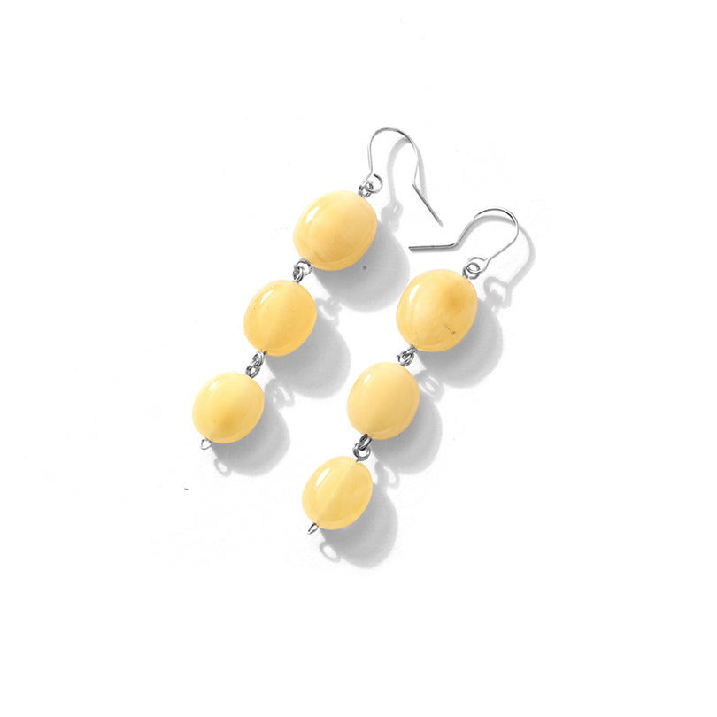 Polish Designer Vibrant Butterscotch Baltic Amber Sterling Silver Statement Earrings